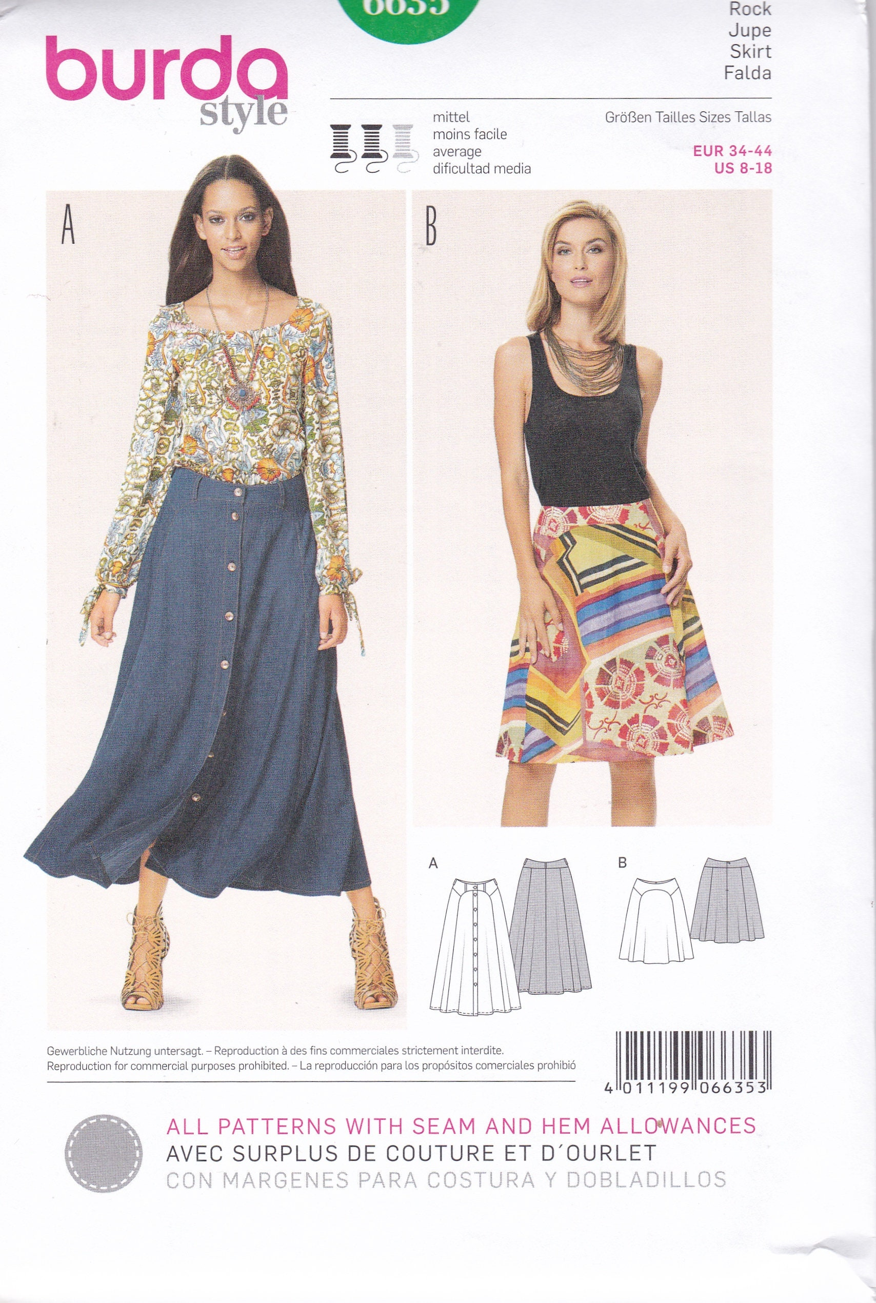 FREE US SHIP Burda 6635 Sewing Pattern Skirt Seamed Button front ...
