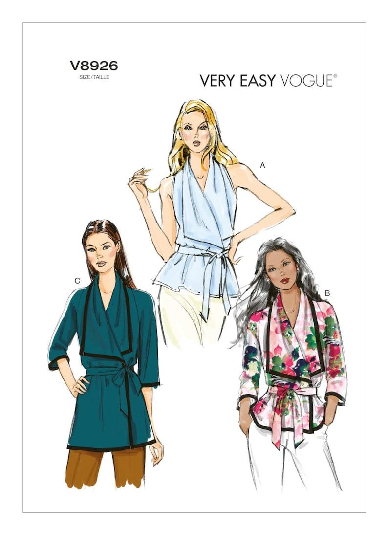 Sewing Pattern Vogue 8926 Wrap Vest Blouse Jacket Big Collar image 0