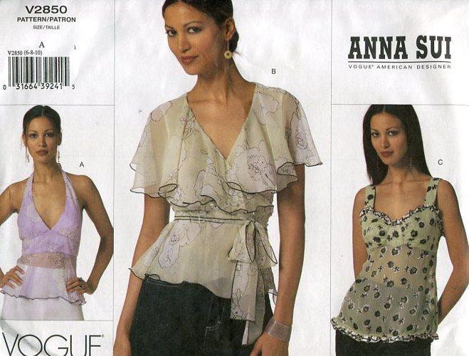 FREE US SHIP Vogue 2850 Anna Sui Wrap Blouse Halter Top 2005 Sewing ...