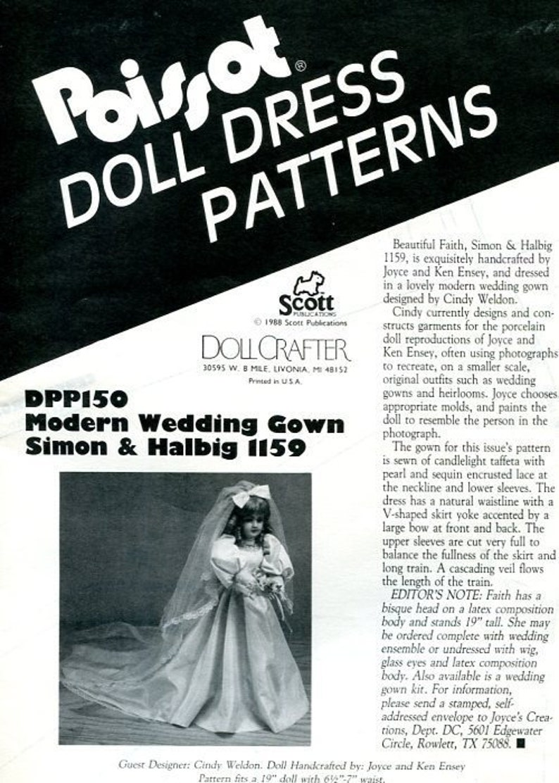 Sewing Pattern Poissot Doll Dress Pattern 1988 dpp150 Modern image 0