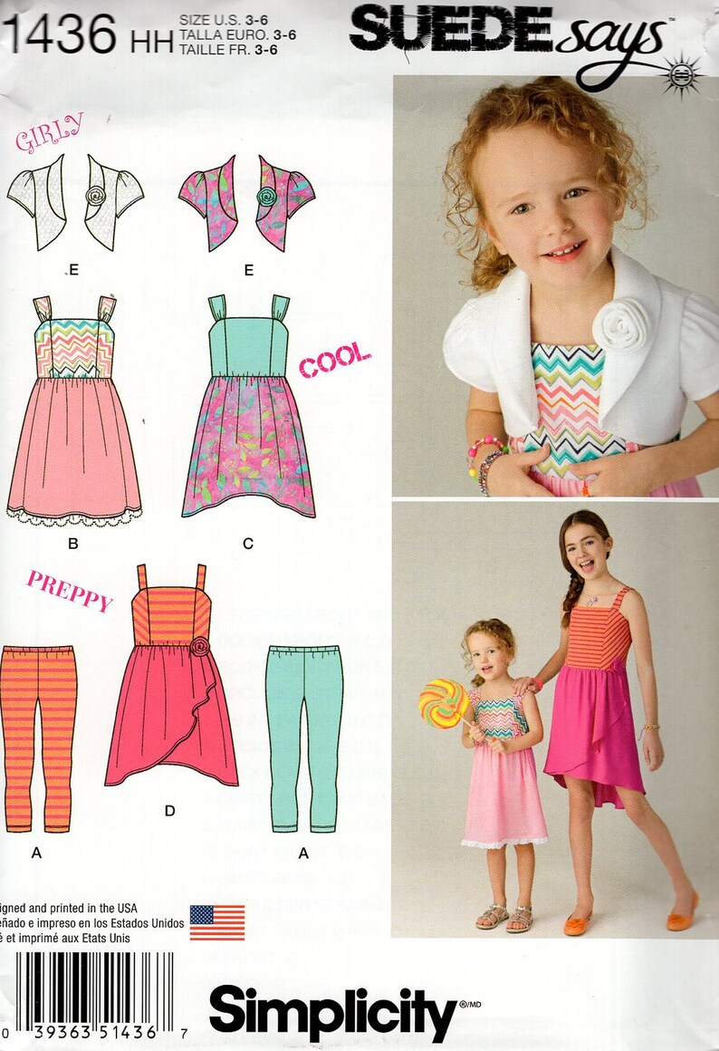 Sewing Pattern Simplicity 1436 Suede Says Girls Summer image 0