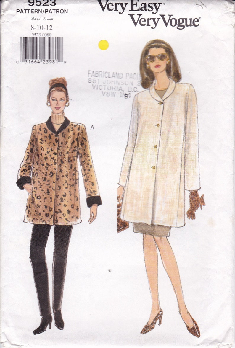 Sewing Pattern for Coat Jacket Loose Fitting Vogue Pattern image 0