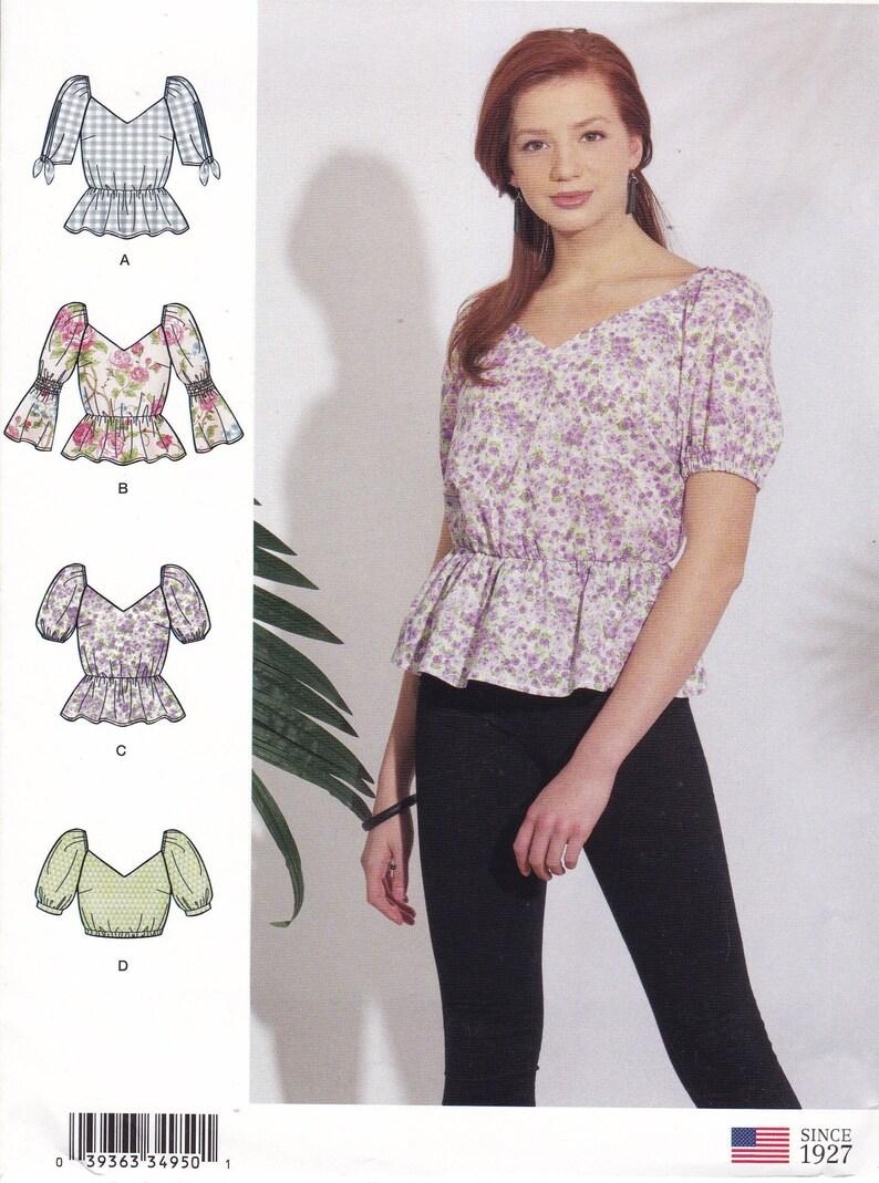 Sewing Pattern to make a Top Boho Crop Top Peplum Top image 0