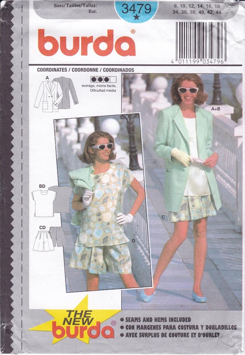 Sewing Pattern Burda 3479  Top Jacket Blouse Shorts 8 10 12 14 image 0