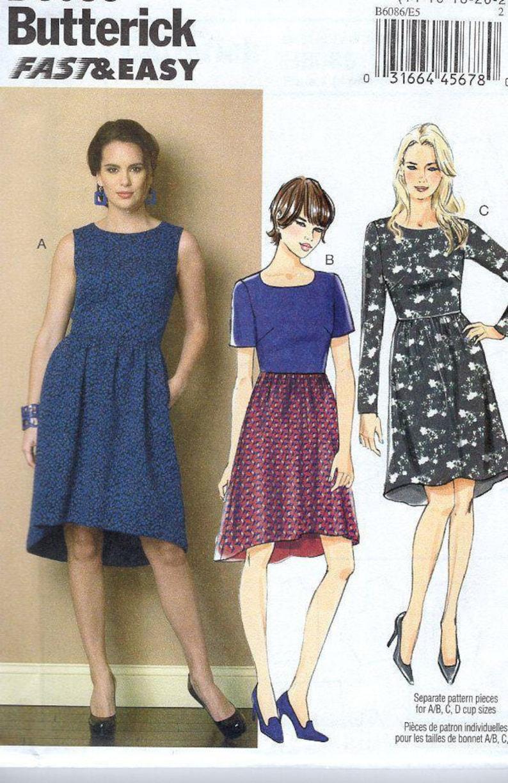 New Sewing Pattern Butterick 6086 High Waist Shaped Hem Dress image 0