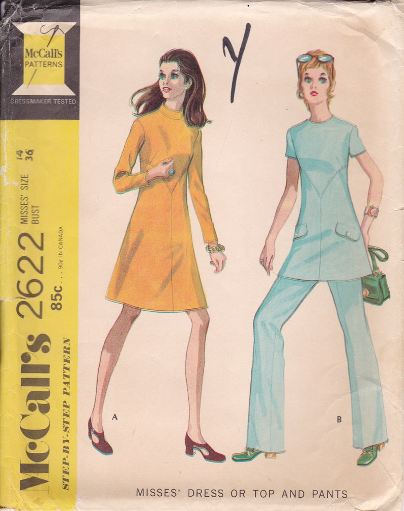 Vintage Sewing Pattern McCalls 2622 Mod Seamed Dress Pantsuit image 0
