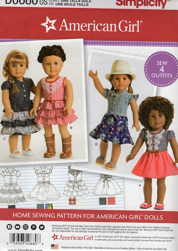 Free Us Ship Simplicity 0680 8359 18doll Clothes Etsy