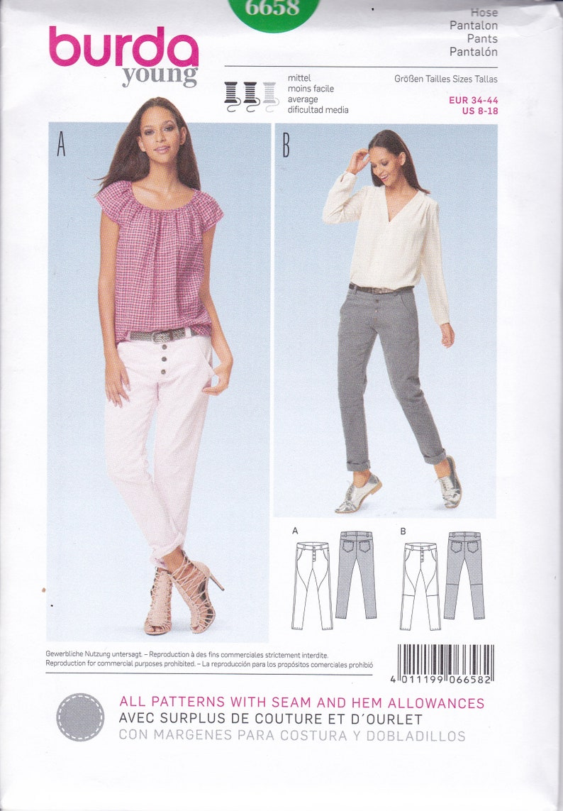 Misses Pants Burda Start1 Sewing Pattern 3216 8-10-12-14-16-18-20-22-24-26 Fitted Size