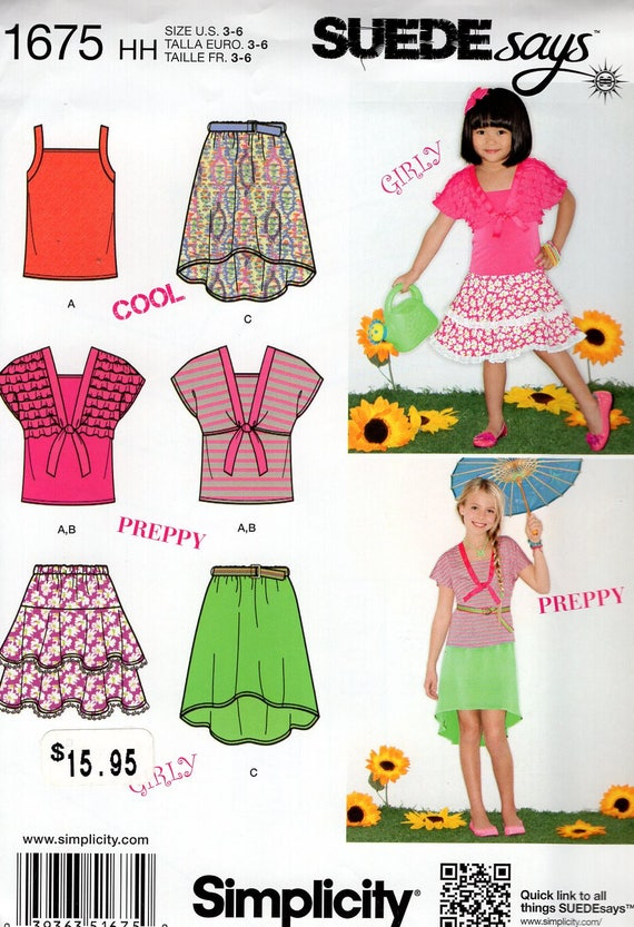 Free Us Ship Sewing Pattern Simplicity 1675 Suede Says Girls Etsy
