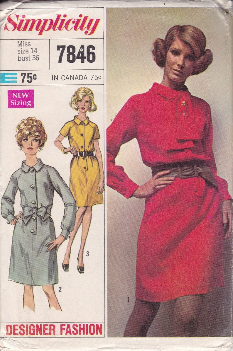Sewing Pattern Original Simplicity 7846 Retro 1960's 60s image 0