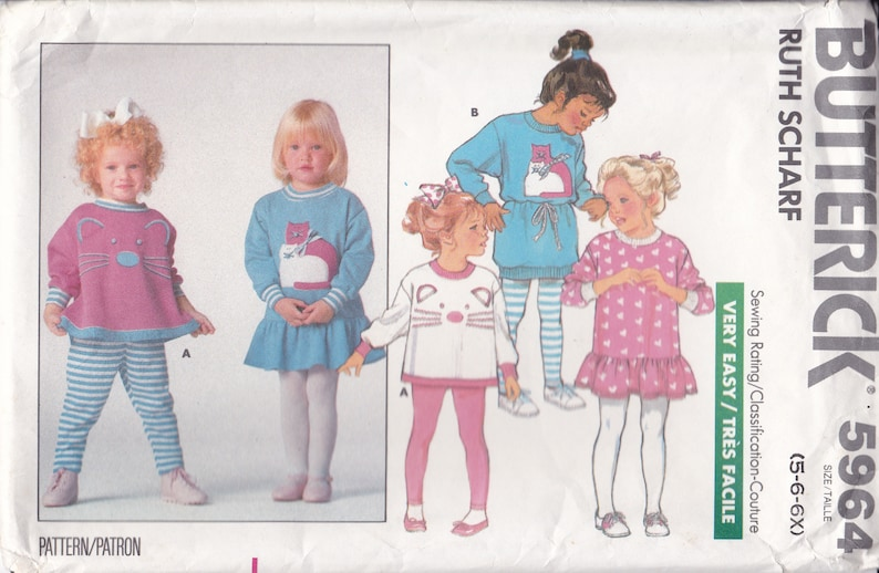 Sewing Pattern Butterick 5964 Girls Cat Face Applique Top image 0