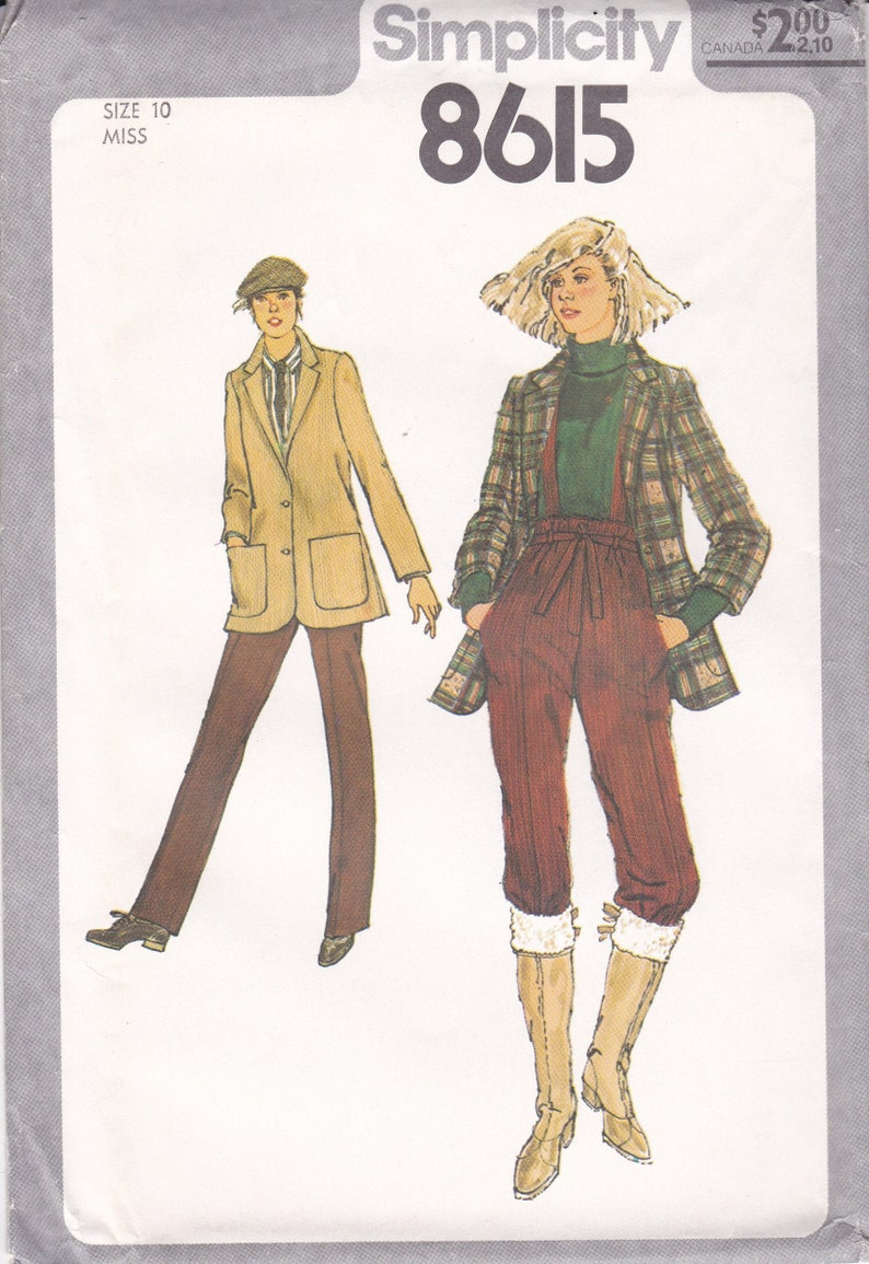 Vintage Sewing Pattern for Womans Boho Pants Suspenders Jacket image 0