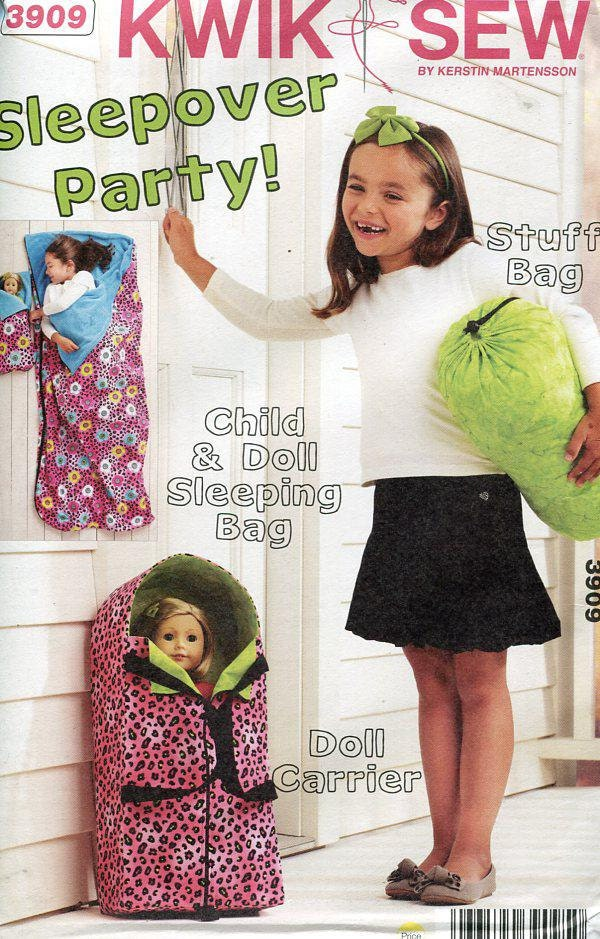 Free Us Ship Kwik Sew 3909 Sleepover Party Child Doll Sleeping Bag