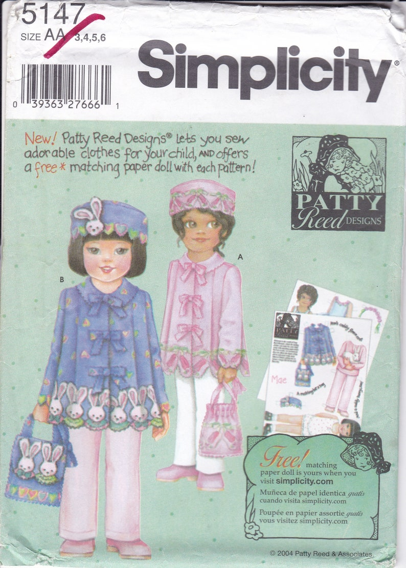 New Sewing Pattern Simplicity 5147 Patty Reed Doll Girls Bunny image 0