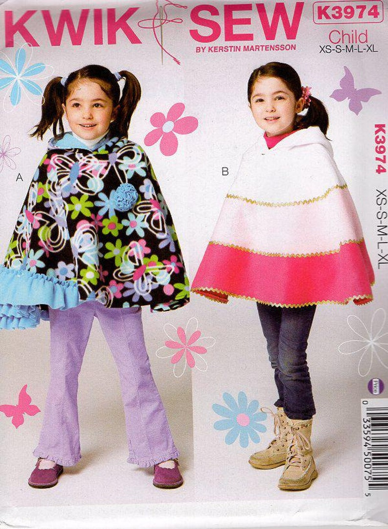 Sewing Pattern Free Us Ship  Kwik Sew 3974 Child Girls Fleece image 0