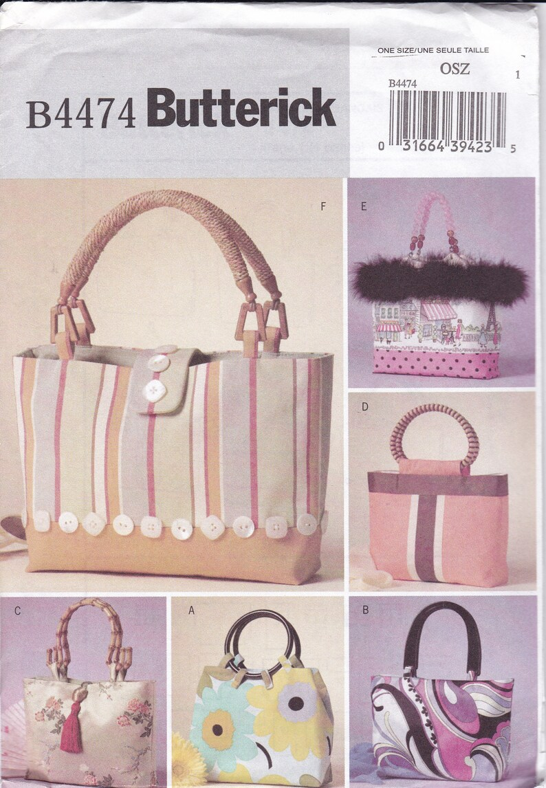 706ef9ee39 Sewing Pattern Butterick 4474 Tote Bag Purse Handbag Purse