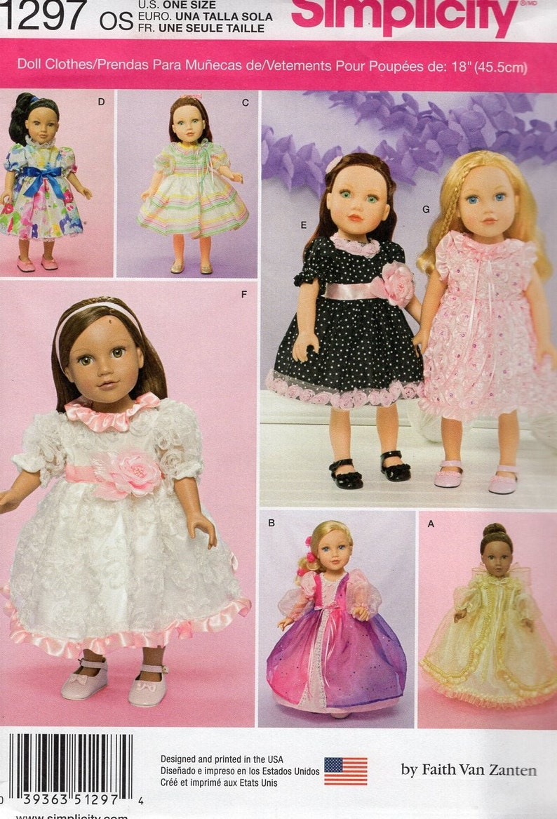 Sewing Pattern Simplicity 1297 Free Us Ship 18 Doll image 0