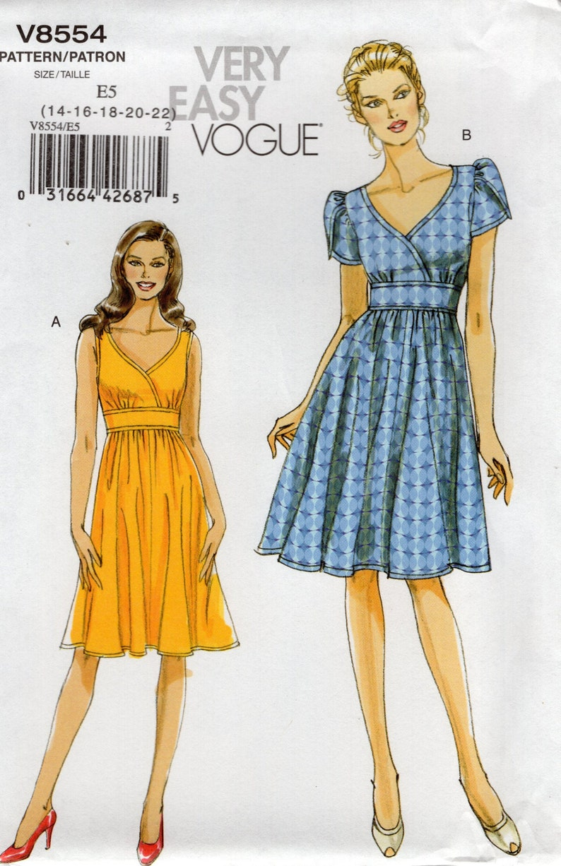 Vogue 8554 Free Us Ship Sewing Pattern High Waist Dress 2009 image 0