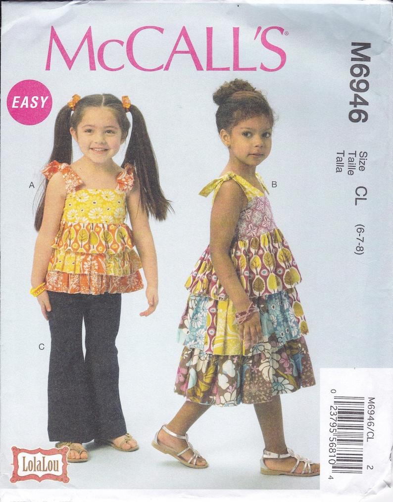 Sewing Pattern McCall's 6946  Girls Boho Bohemian Ruffle image 0