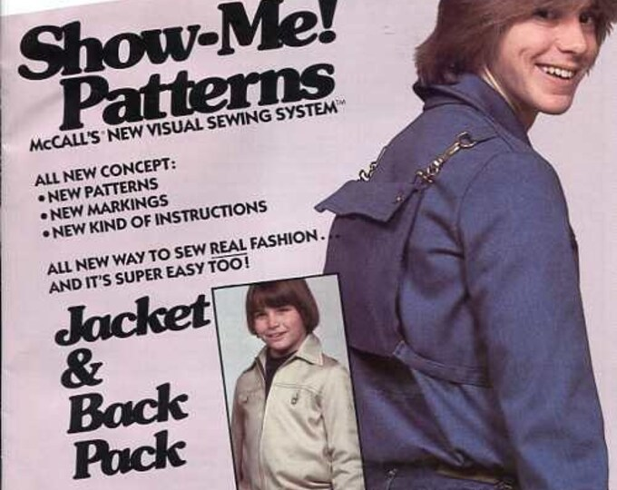 Free us Ship Vintage Retro 1970s 70s McCall's 6166 Boys Jacket with attached Backpack Back Pack Several Sizes Show Me Sewing Pattern