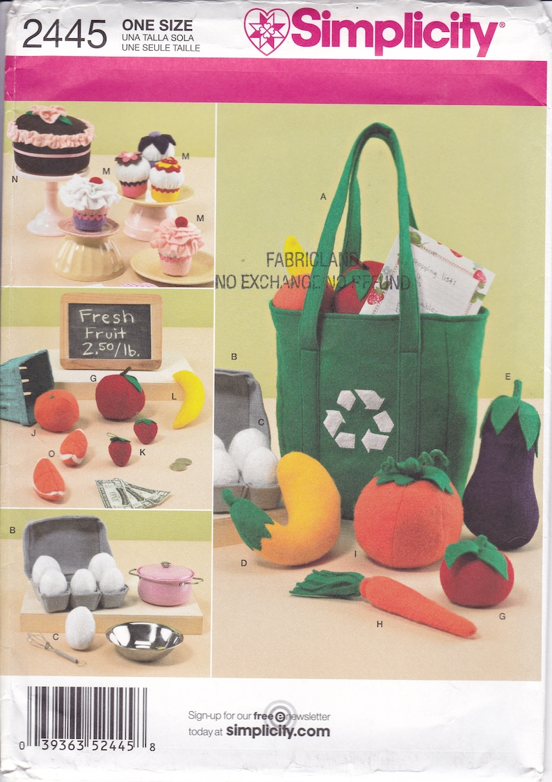 Sewing Pattern Simplicity 2445 For Felt Play Food Eggs Fruit image 0