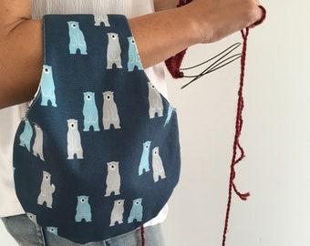 Arm bag, Reversible small Project Bag, Knitting Bag, Crochet Bag, Knit-on-the-go, Knitters gift, sock knitting bag, Mother's Day
