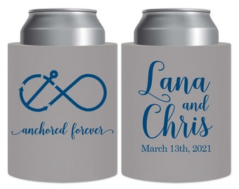 SLIM Can Coolers Personalized Wedding Favors Wedding Beer Holders Nauti Wedding Favors Maritime Wedding Decor Anchored Forever 1A 8.3 12oz