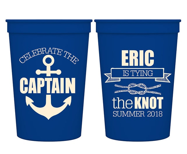 12oz Smooth Stadium Plastic Drinking Beer Cups Custom Fun Bachelor Party Favors | Celebrate The Captain (1A) | BPA Free | READ DESCRIPTION