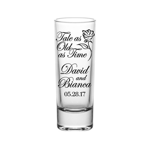 50x Cordial 2oz Tall Shot Glasses Customized Wedding Favors