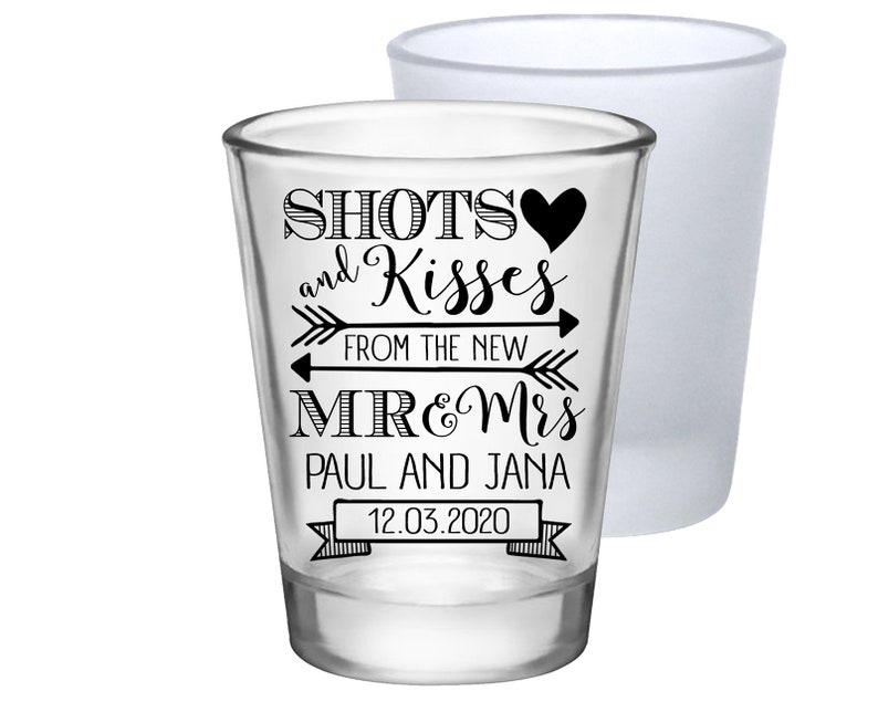 bb243f07de65d8 Clear or Frosted Personalized Wedding Shot Glasses Cute