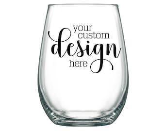 Wedding Wine Glasses Personalized Wedding Favors 17oz Stemless Wine Glasses Unique Wedding Favors Your Wedding Design or Wedding Monogram
