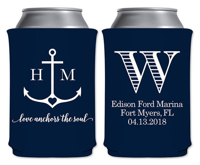 Personalized Coolers Beverage Insulators Customized Nautical Wedding Favors | Love Anchors The Soul | Beer Can Holders | READ DESCRIPTION