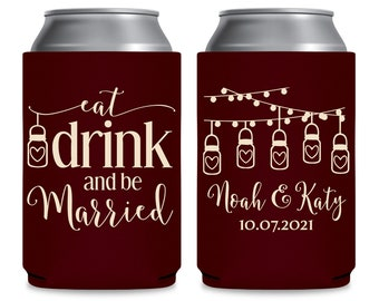 Wedding Can Coolers Personalized Wedding Favors Barn Wedding Party Favors Boho Wedding Decor Rustic Wedding Favors Eat Drink Be Married 3A