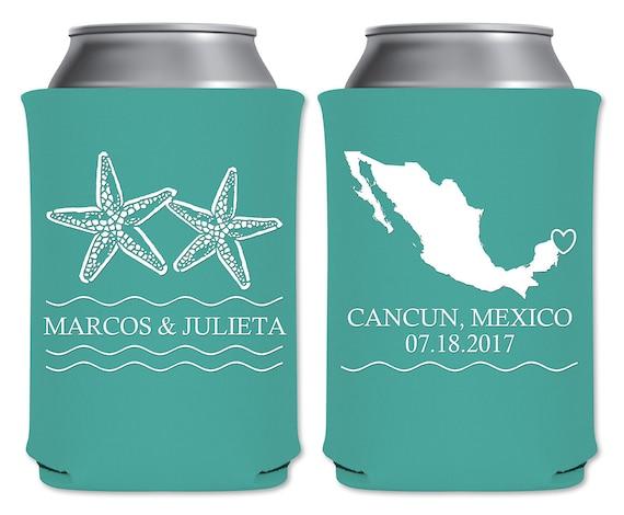 Destination Wedding Can Coolers Beverage Insulators Custom Wedding Favors | Starfish | Beach Weddings/Summer Weddings READ DESCRIPTION