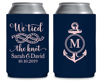 Maritime Wedding Can Coolers Personalized Wedding Favors Beach Wedding Decor Nautical Wedding Favors Wedding Party Gifts We Tied The Knot 3A