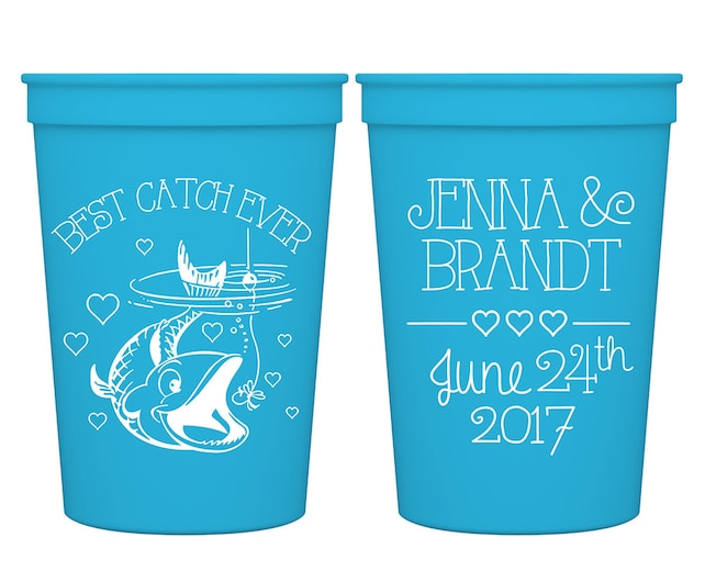 16oz Smooth Stadium Plastic Personalized Fun Drinking Cups Custom Wedding Favors | Best Catch Ever (2A) Fish | BPA Free | READ DESCRIPTION
