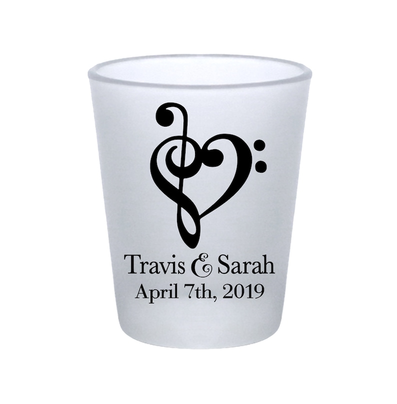 Clear or Frosted Wedding Shot Glasses Custom Wedding Favors Custom Shot Glasses Wedding Party Gift Music Wedding Favors Love Melody 1A