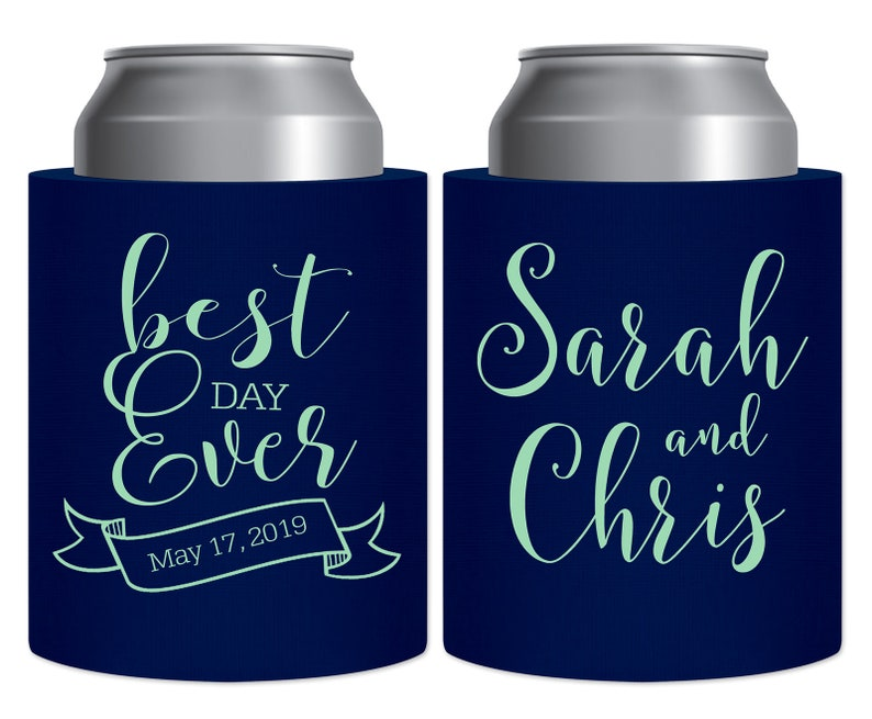 Wedding Can Coolers Personalized Wedding Favors Hard Thick Foam Beer Bottle Holders Beach Wedding Decor Wedding Party Gifts Best Day Ever 2A