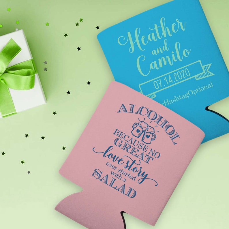 Wedding Can Huggers Funny Wedding Favors for Guests Personalized Wedding Favors Cheap Wedding Favors Alcohol No Great Love Story Salad 1A