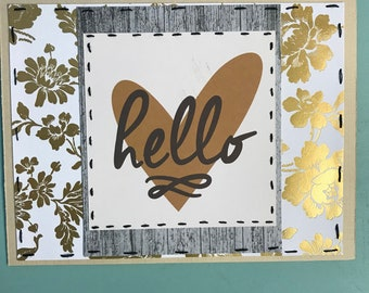 Hello // Floral // Gold // Hearts // Handmade // Greeting // Card