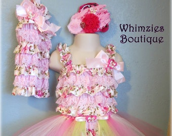 Bella Rosa A Romper, Tutu & Headband Set by WhimZies Boutique (Fits 12-24 months) *Portraits, Pageants, Birthdays + *