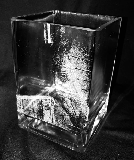 PHOTO ENGRAVED VASE cube glass etched picture, memorial,pet, Mother's Day, personalised, cat, dog, horse, mum, dad, daughter, son, gift,