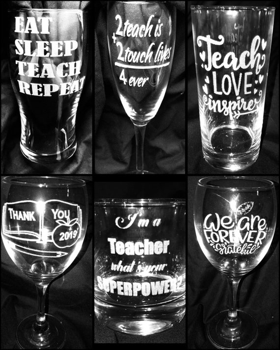TEACHER engraved glass special offer, book, apple, gift, etched, personalised, beer, wine, term, assistant, present, , child, school college