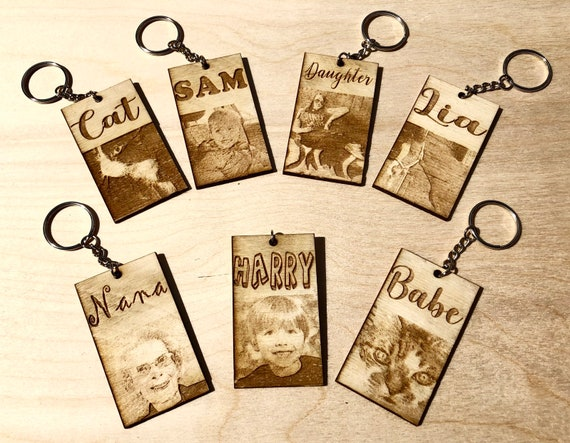 ENGRAVED PHOTO keyring, wooden keychain, personalised, memory, keepsake, child, Father's Day Mother's, etched, pet, memorial, cat, dog, hors