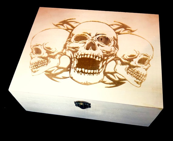 SKULL BOX, engraved, etched, wooden box, personalised, gift, men, wood, goth, biker, wedding, rock, horror, groom,