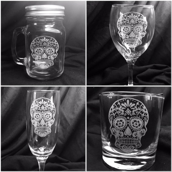 Sugar skulls engraved wine, pint, whiskey, tumbler, champagne, mason jar, etched glass personalised dia de los muertos day of dead beer