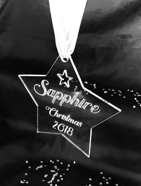ENGRAVED STAR NAME christmas 2018 15cm acrylic, clear, etched, memorial, xmas, decoration, bauble, 1st, first, son, daughter, pet, mum, dad,