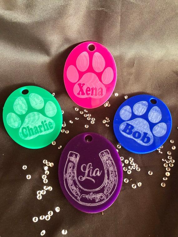 ENGRAVED PET DECORATION paw horseshoe christmas 10cm acrylic etched memorial, xmas, decoration, bauble, pink, blue purple, horse dog catw