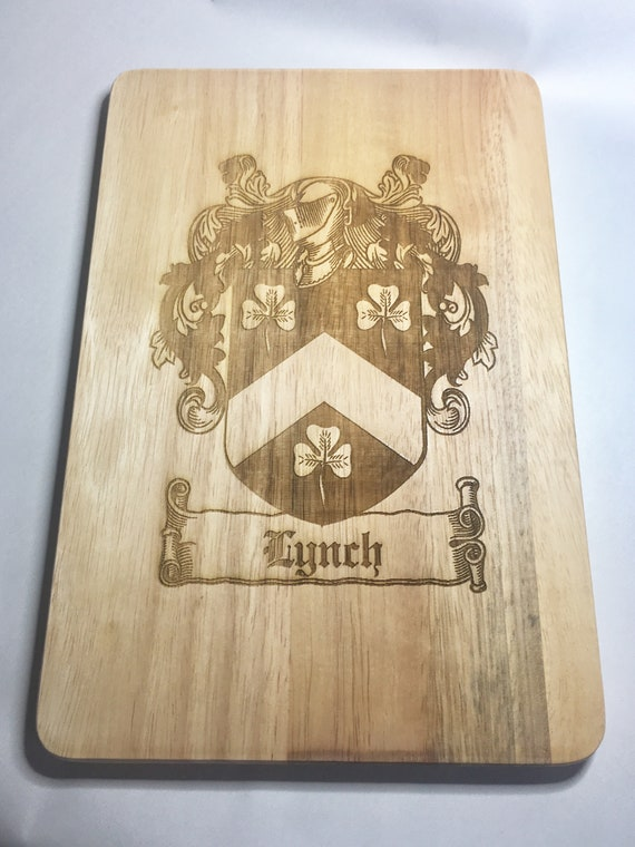 FAMILY CREST ENGRAVED chopping cutting board etched coat of arms, name, christmas gift, cheese, wedding, fathers day, dad,