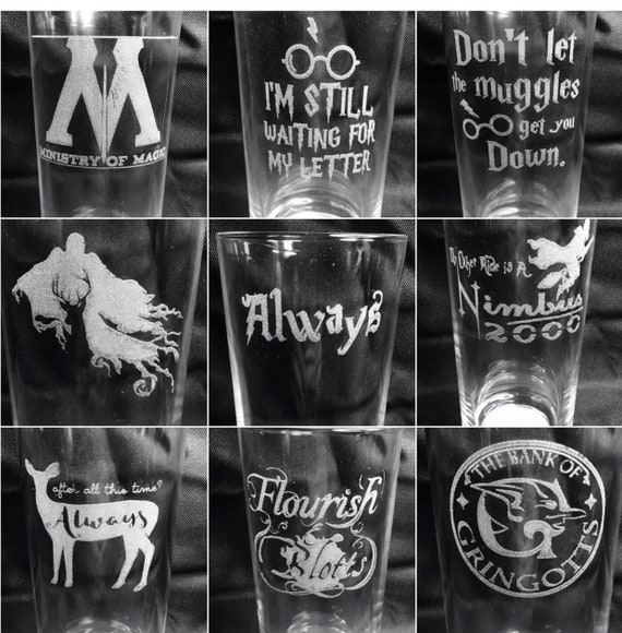HARRY POTTER engraved, etched, glass, personalised, choice of glass, gift, wine, beer, whiskey, tankard, champagne, gin, wedding, always,